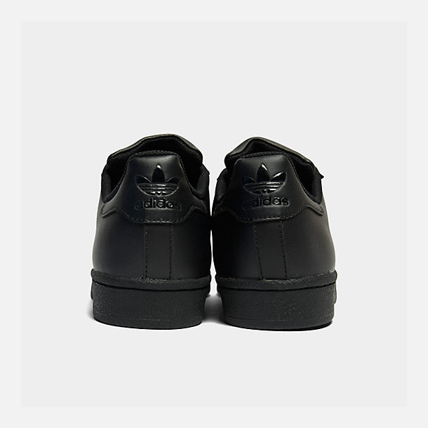 Left view of Big Kids' adidas Superstar Casual Shoes in Black/Black