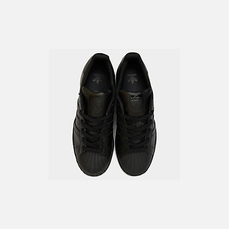 Back view of Big Kids' adidas Superstar Casual Shoes in Black/Black