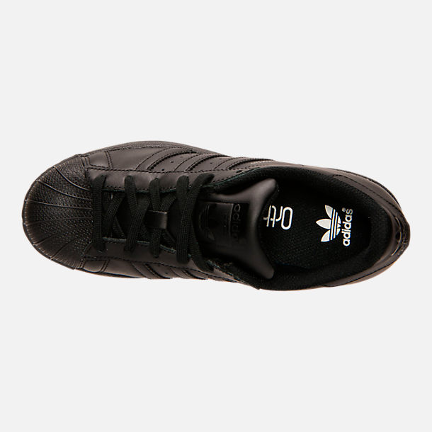 Top view of Big Kids' adidas Superstar Casual Shoes in Black/Black