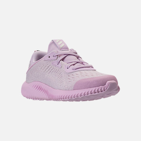 Three Quarter view of Girls' Preschool adidas AlphaBounce EM Running Shoes in Aero Pink/Chalk White/Aero Pink