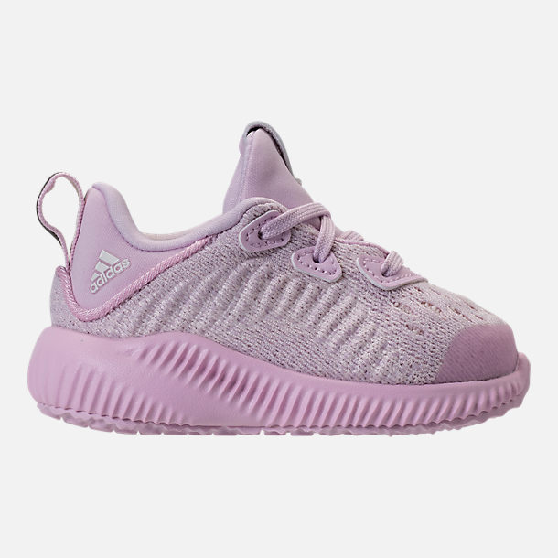 Right view of Girls' Toddler adidas AlphaBounce EM Running Shoes in Aero Pink/Chalk White/Aero Pink