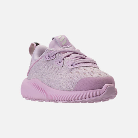 Three Quarter view of Girls' Toddler adidas AlphaBounce EM Running Shoes in Aero Pink/Chalk White/Aero Pink