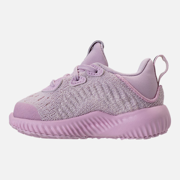 Left view of Girls' Toddler adidas AlphaBounce EM Running Shoes in Aero Pink/Chalk White/Aero Pink