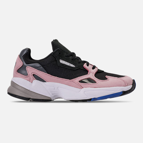 Right view of Women's adidas Originals Falcon Suede Casual Shoes in Core Black/Core Black/Light Pink