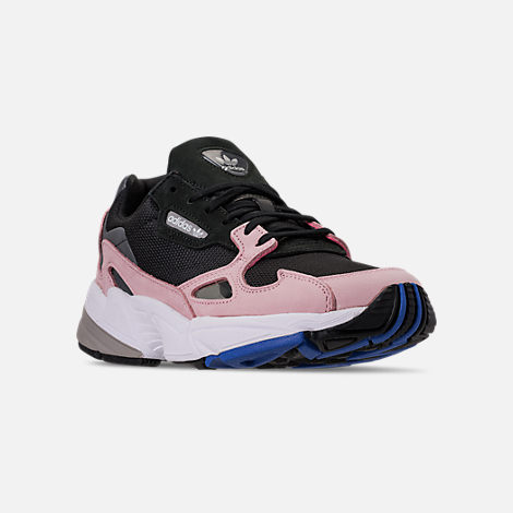 Three Quarter view of Women's adidas Originals Falcon Suede Casual Shoes in Core Black/Core Black/Light Pink