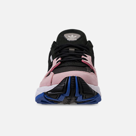Front view of Women's adidas Originals Falcon Suede Casual Shoes in Core Black/Core Black/Light Pink