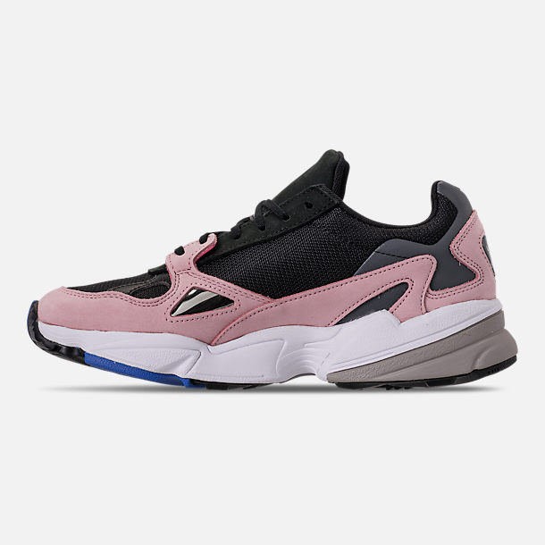 Left view of Women's adidas Originals Falcon Suede Casual Shoes in Core Black/Core Black/Light Pink
