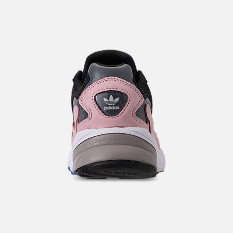 Back view of Women's adidas Originals Falcon Suede Casual Shoes in Core Black/Core Black/Light Pink