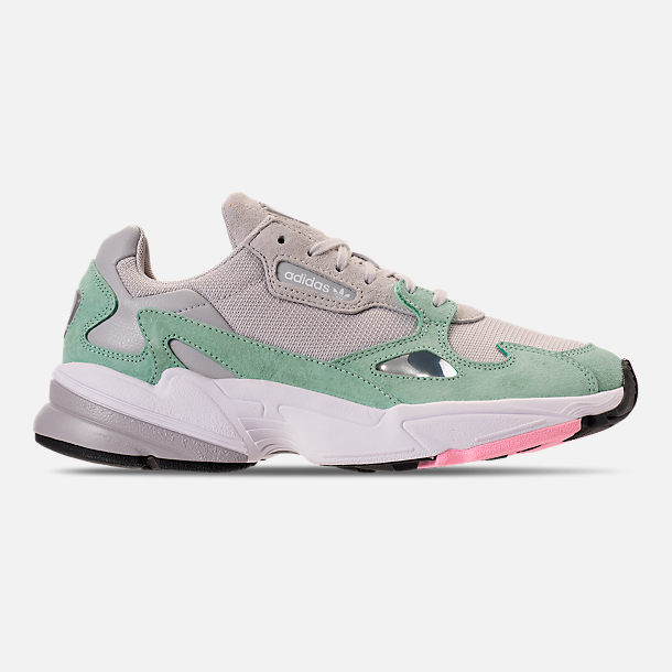 Right view of Women's adidas Originals Falcon Suede Casual Shoes in Grey One/Grey One/Easy Green