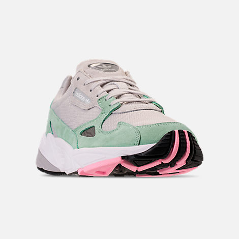 Three Quarter view of Women's adidas Originals Falcon Suede Casual Shoes in Grey One/Grey One/Easy Green