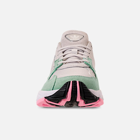 Front view of Women's adidas Originals Falcon Suede Casual Shoes in Grey One/Grey One/Easy Green