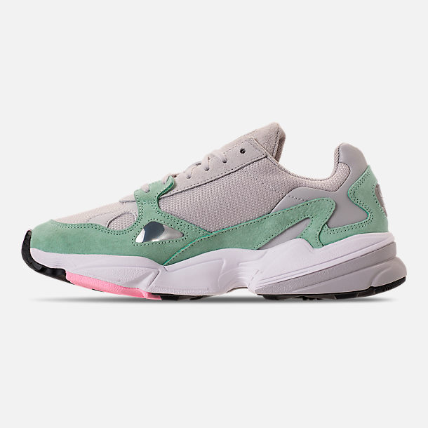 Left view of Women's adidas Originals Falcon Suede Casual Shoes in Grey One/Grey One/Easy Green