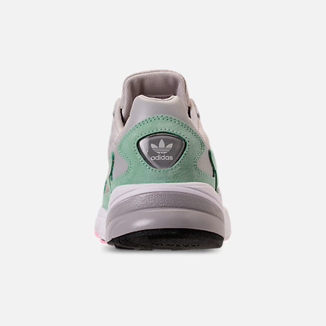 Back view of Women's adidas Originals Falcon Suede Casual Shoes in Grey One/Grey One/Easy Green