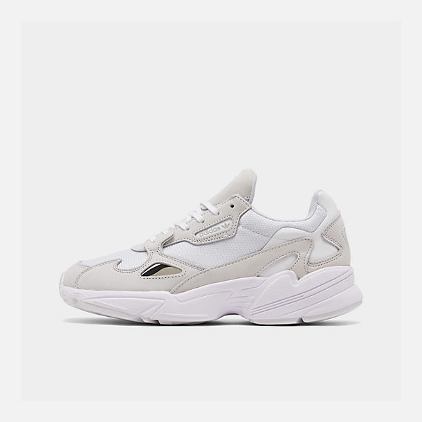 Right view of Women's adidas Originals Falcon Suede Casual Shoes in White/White/White