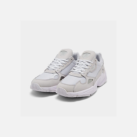 Three Quarter view of Women's adidas Originals Falcon Suede Casual Shoes in White/White/White