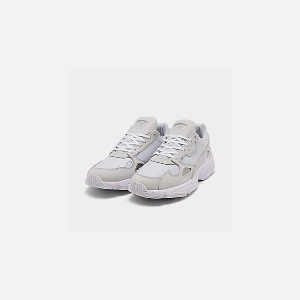 sports shoes 6fa80 0a83e Three Quarter view of Women s adidas Originals Falcon Suede Casual Shoes in  White White