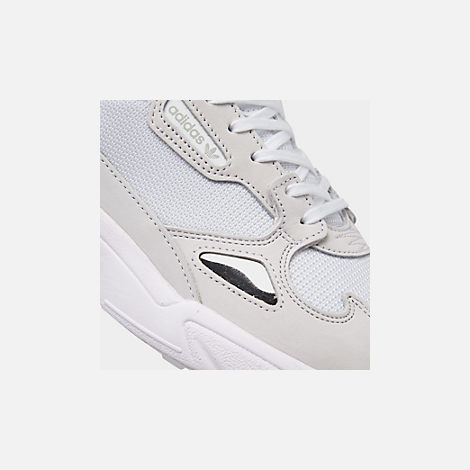 Front view of Women's adidas Originals Falcon Suede Casual Shoes in White/White/White