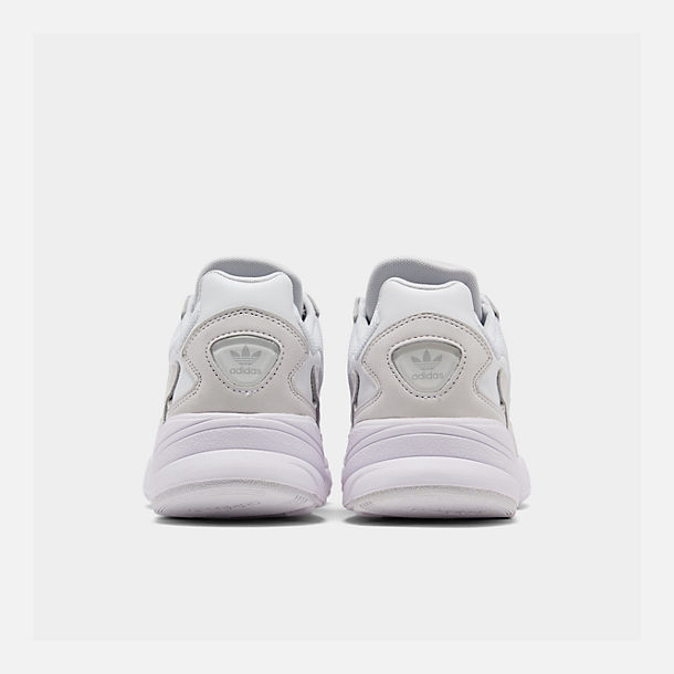 Left view of Women's adidas Originals Falcon Suede Casual Shoes in White/White/White
