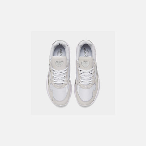 Back view of Women's adidas Originals Falcon Suede Casual Shoes in White/White/White