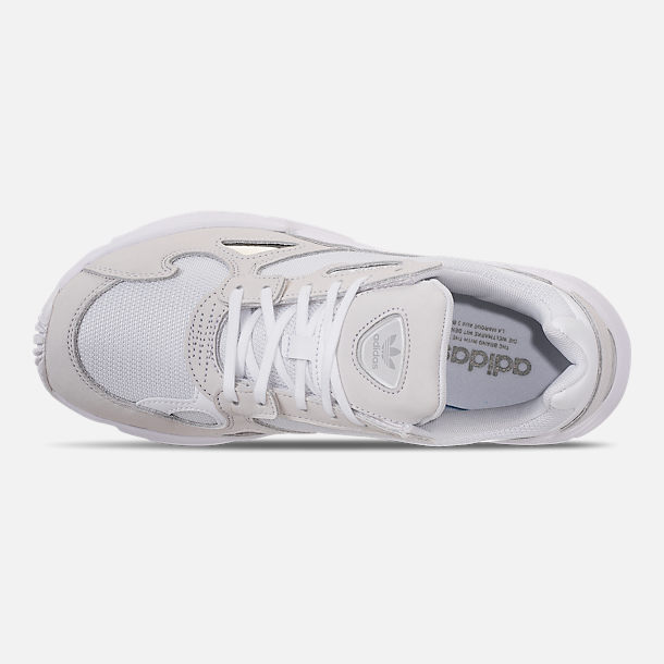 Top view of Women's adidas Originals Falcon Suede Casual Shoes in White/White/White