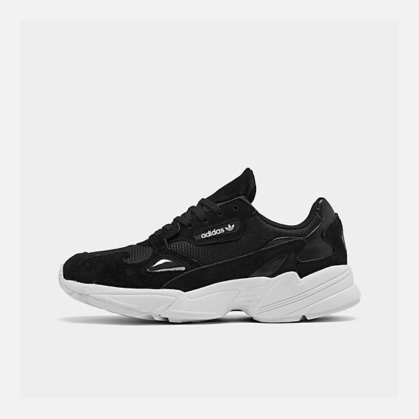 Right view of Women's adidas Originals Falcon Suede Casual Shoes in Black/Black/White