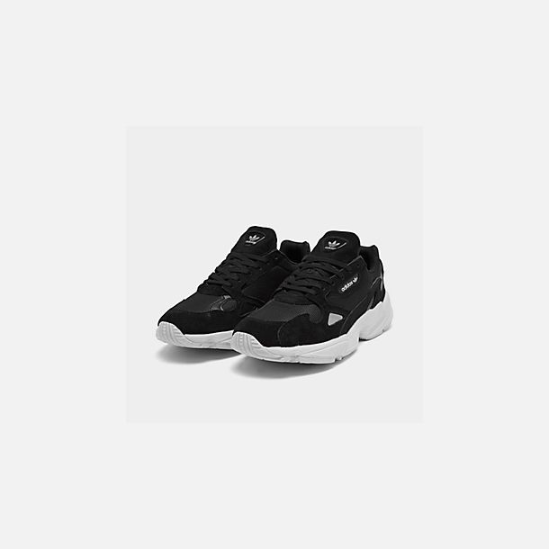 Three Quarter view of Women's adidas Originals Falcon Suede Casual Shoes in Black/Black/White