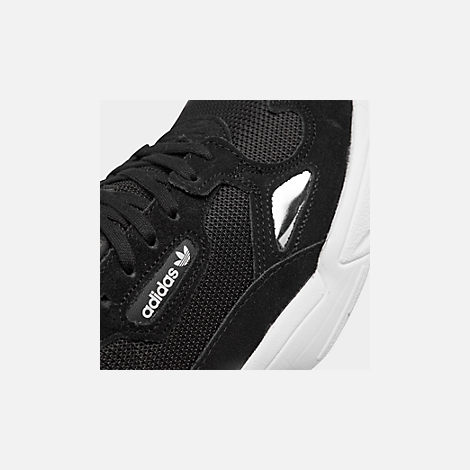 Front view of Women's adidas Originals Falcon Suede Casual Shoes in Black/Black/White