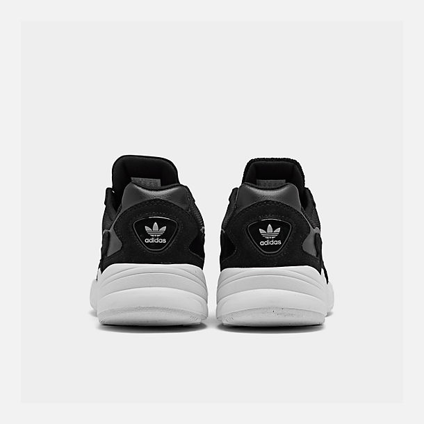 Left view of Women's adidas Originals Falcon Suede Casual Shoes in Black/Black/White