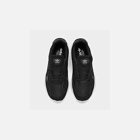 Back view of Women's adidas Originals Falcon Suede Casual Shoes in Black/Black/White