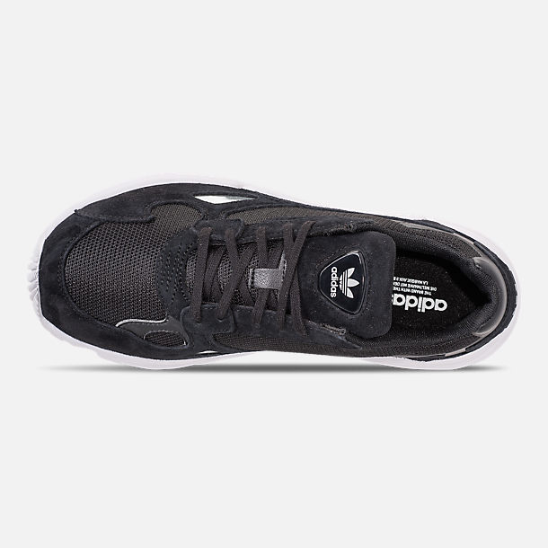 Top view of Women's adidas Originals Falcon Suede Casual Shoes in Black/Black/White