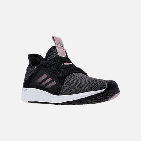 Three Quarter view of Women's adidas Edge Lux Running Shoes in Black/Ash Pearl/White