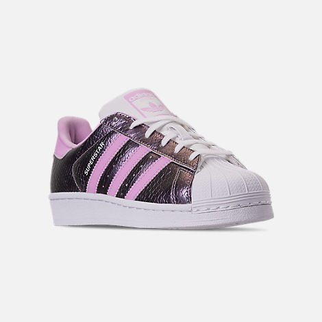 Three Quarter view of Girls' Grade School adidas Superstar Casual Shoes