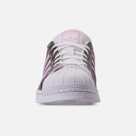 Front view of Girls' Grade School adidas Superstar Casual Shoes