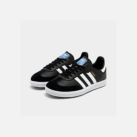 Three Quarter view of Big Kids' adidas Samba OG Casual Shoes in Black/White