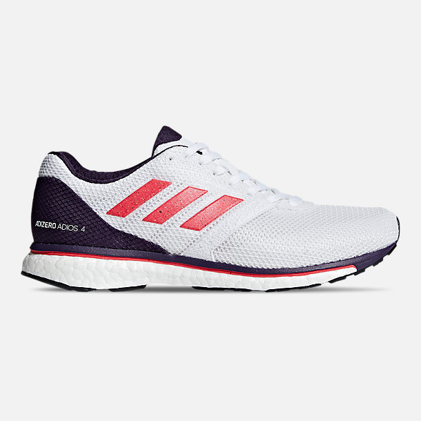 Right view of Women's adidas adizero Adios 4 Running Shoes in Cloud White/Shock Red/Legend Purple