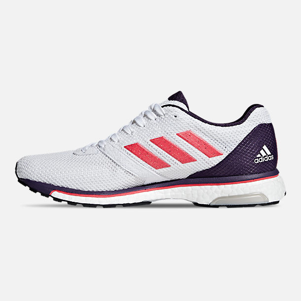 Left view of Women's adidas adizero Adios 4 Running Shoes in Cloud White/Shock Red/Legend Purple