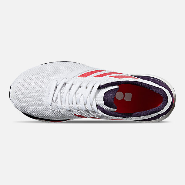 Top view of Women's adidas adizero Adios 4 Running Shoes in Cloud White/Shock Red/Legend Purple