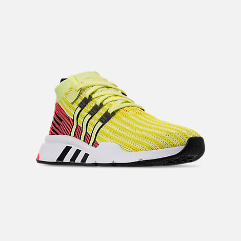 Three Quarter view of Men's adidas Originals EQT Support Mid ADV Casual Shoes in Glow/Core Black/Turbo
