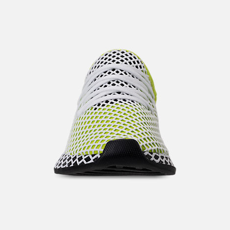 Front view of Kids' Grade School adidas Originals Deerupt Runner Casual Shoes in Semi Solar Slime/Core Black