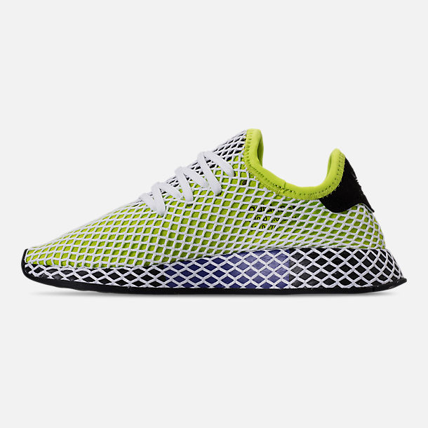 Left view of Kids' Grade School adidas Originals Deerupt Runner Casual Shoes in Semi Solar Slime/Core Black