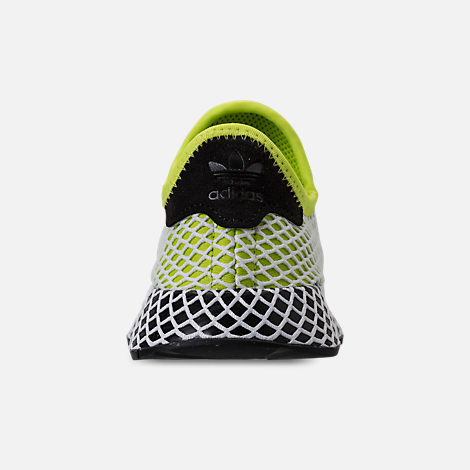 Back view of Kids' Grade School adidas Originals Deerupt Runner Casual Shoes in Semi Solar Slime/Core Black