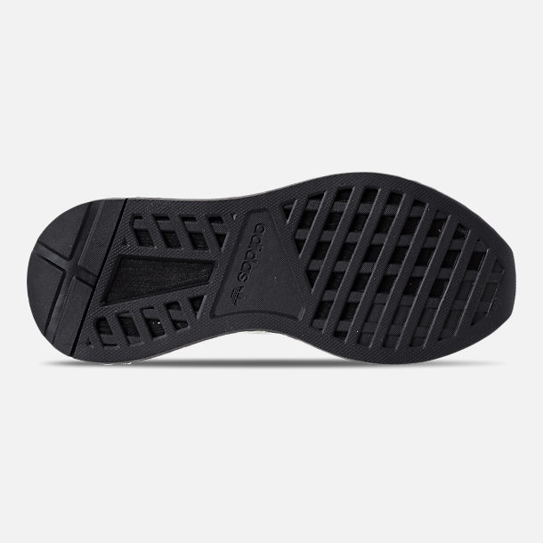Bottom view of Kids' Grade School adidas Originals Deerupt Runner Casual Shoes in Semi Solar Slime/Core Black
