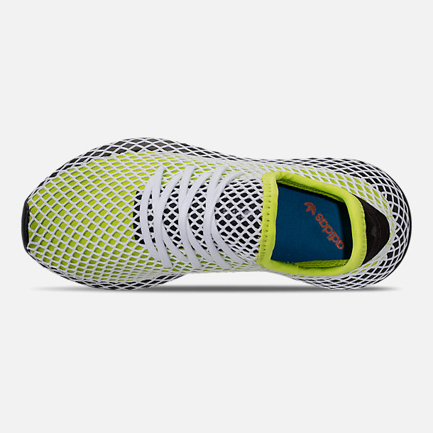 Top view of Kids' Grade School adidas Originals Deerupt Runner Casual Shoes in Semi Solar Slime/Core Black