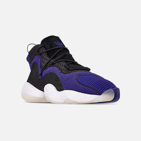 Three Quarter view of Men's adidas Crazy BYW I Basketball Shoes in Real Purple/Core Black/Footwear White