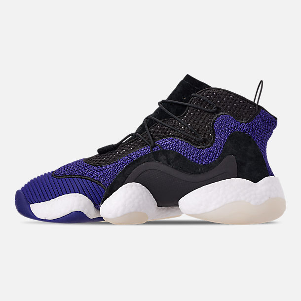 Left view of Men's adidas Crazy BYW I Basketball Shoes in Real Purple/Core Black/Footwear White