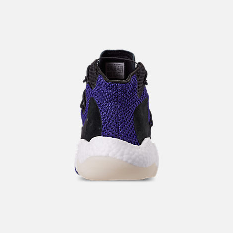 Back view of Men's adidas Crazy BYW I Basketball Shoes in Real Purple/Core Black/Footwear White