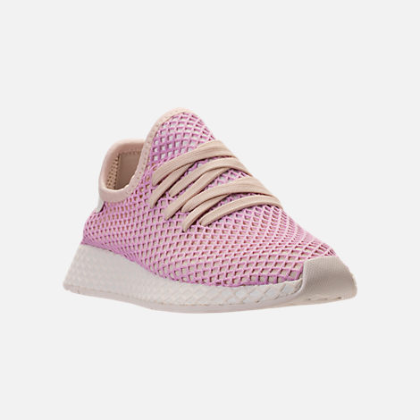 Three Quarter view of Women's adidas Originals Deerupt Runner Casual Shoes in Linen/Linen/Clear Lilac