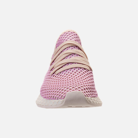Front view of Women's adidas Originals Deerupt Runner Casual Shoes in Linen/Linen/Clear Lilac