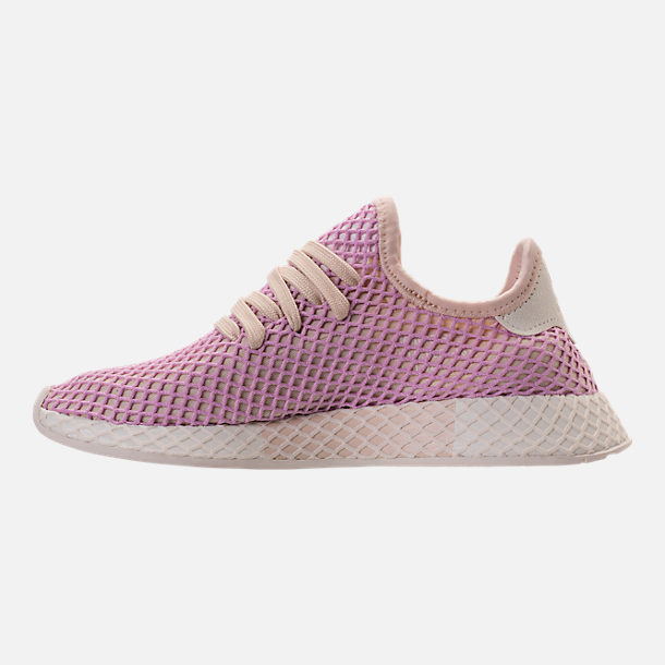 Left view of Women's adidas Originals Deerupt Runner Casual Shoes in Linen/Linen/Clear Lilac