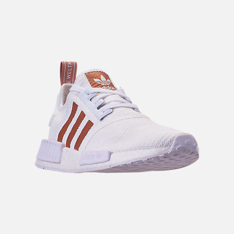8b528c8f5bc51 Three Quarter view of Women s adidas NMD R1 Casual Shoes in White Copper